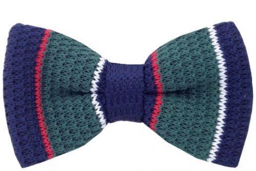 Grøn, blå, rød & hvid strikket butterfly
