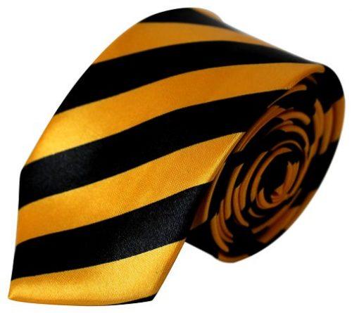 Guld & sort stribet smalt slips