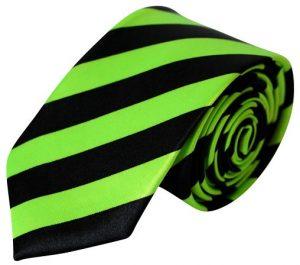 Neongrøn & sort stribet smalt slips