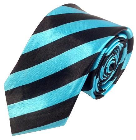 Lyseblå & sort stribet smalt slips