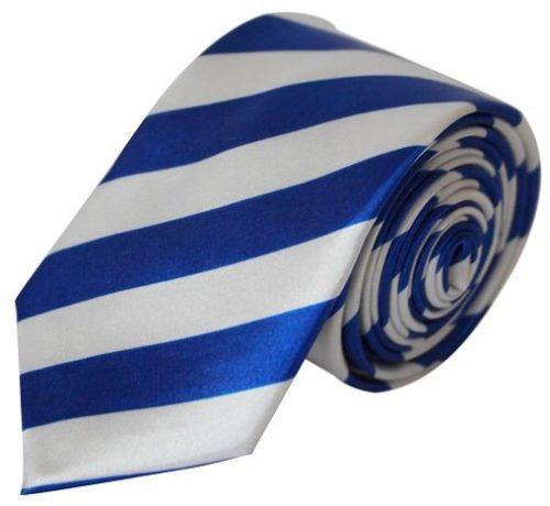 Blå & hvid stribet smalt slips
