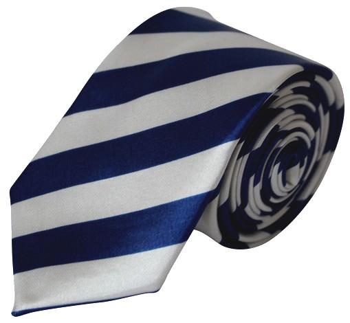 Mørkeblå & hvid stribet smalt slips