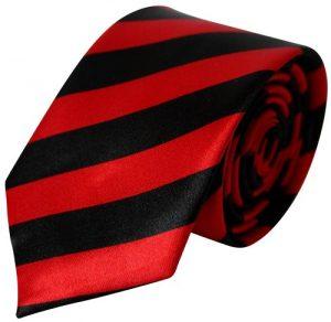 Rød & sort stribet smalt slips