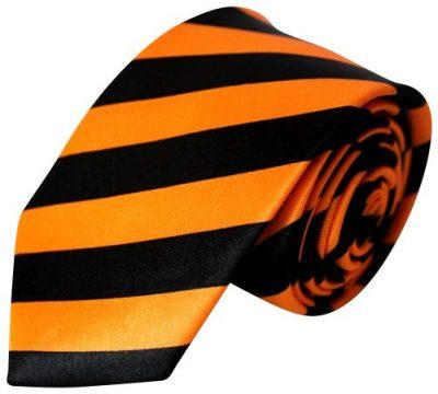 Orange & sort stribet smalt slips