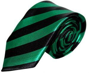 Mørkegrøn & sort stribet smalt slips