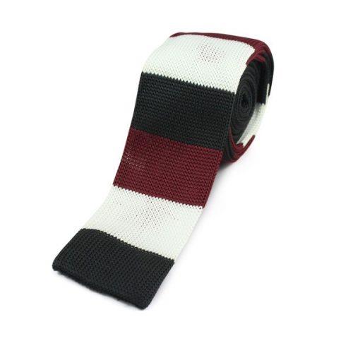 Sort/Rødt/Hvidt Strikket Slips
